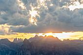 Nature Park Puez-Odle during sunset. Nature Park Puez-Odle, Bolzano province, South-tyrol, Dolomites, Italy, Europe