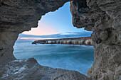 Cyprus, Ayia Napa, The sea caves at Cape Greco at dusk