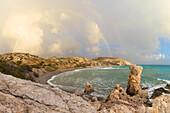 Cyprus, Paphos, rainbow at Petra tou Romiou also known as Aphrodite's Rock
