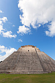The rear side Pyramid of the Magician, Uxmal archeological site, Yucatan, Mexico.