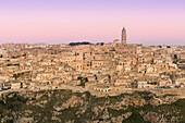 The ancient town Matera at dawn, Matera province, Basilicata, Italy