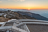 Monte Grappa, province of Treviso, Veneto, Italy, Europe. Sunrise over the Venetian plain, seen from the stairs at the military memorial monument