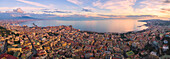 Aerial view of Napoli at sunset, Campania region, Napoli, Italy, Europe.