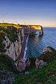 Arch at dawn in Etretat,Normandy,France.