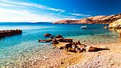 The beach of Stara Baska in Krk Island, Dalmatia, Adriatic Coast, Croatia.