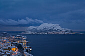 Winter blue hour at Godoy island, Vestlandet, More og Romsdal county, Norway, Europe.