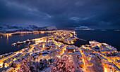 Winter night cityscape at Alesund, Vestlandet, More og Romsdal county, Norway, Europe.
