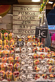 Stall of fresh fruit, La Boqueria Market, Ciudad Vieja, Barcelona, Catalonia, Spain