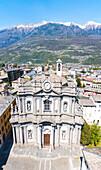 Panoramic aerial view of Collegiata San Giovanni, Morbegno, province of Sondrio, Valtellina, Lombardy, Italy