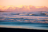 Stokksness beach with some snowy mountains on the background, Southern Iceland
