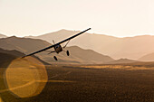 Kevin Quinn's highly modified 1953 Cessna 180 Skywagon flies in late afternoon light in the Nevada Desert.