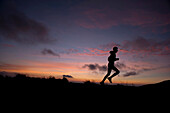 Profesional runner Saby Luna training early in the morning at El Nevado de Toluca volcano, near Toluca City