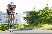 Profesional triathletes at the bike stage of the Los Cabos Iron Man 2015 in Los Cabos, Baja California