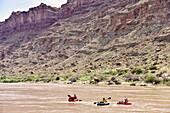 Three adventurous women rafting in river in Canyonlands National Park, Moab, Utah, USA