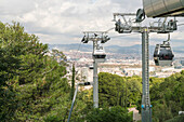 View of overhead cable cars in Montjuic, Barcelona, Catalonia, Spain