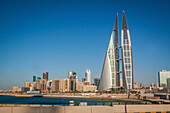 skyline of manama with the twin towers of the bahrain world trade center, manama, kingdom of bahrain, persian gulf, middle east