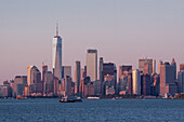 sun setting over the manhattan skyline and one world trade center, manhattan, new york city, new york, united states, usa