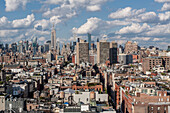 perspective of the skyline of midtown and manhattan from a rooftop in tribeca, manhattan, new york city, new york, united states, usa