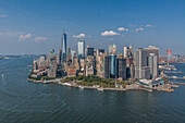 panorama of new york and the financial district taken during a flight in a helicopter, manhattan, new york city, new york, united states, usa