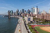 panorama of the brooklyn bridge and the manhattan skyline with one world trade center seen from the manhattan bridge, east river, brooklyn bridge, architecture, monument, financial district, lower manhattan, new york city, new york, united states, usa