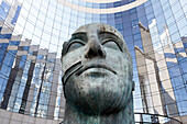 Paris. District of Defense. Valmy plaza. Sculpture representing a human face.