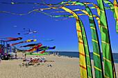 Europe, France, demonstration giant kites above the beach of La Turballe Loire-Atlantique