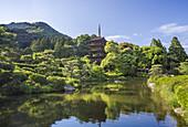 Japan, Yaamaguchi City, Kozan-Koen Park, Pagoda at Kuriku-Ji
