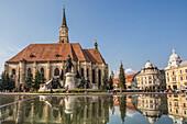 Romania, Transilvania, Cluj Napoca City, Mathia Rex Monument, St. Michaela´s Church, Unirii Square