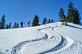 Two women backcountry-skiing ascending on slope with downhill-tracks, Predigtstuhl, Chiemgau Alps, Chiemgau, Upper Bavaria, Bavaria, Germany