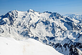Snow-covered mountains and glaciers with Hohferner and Hochfeiler, from Wilde Kreuzspitze, valley of Pfitschtal, Zillertal Alps, South Tyrol, Italy