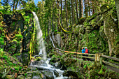 Two persons standing on trail and looking towards waterfall in Menzenschwand, waterfall Menzenschwand, Albsteig, Black Forest, Baden-Wuerttemberg, Germany