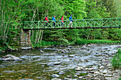 Four persons walking over a bridge over Alb, Albsteig, Black Forest, Baden-Wuerttemberg, Germany