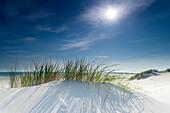 Sand Dune, Sky, Sun, Spiekeroog, North Sea, East Frisian Islands, East Frisia, Lower Saxony, Germany, Europe