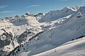 young skier freerding off piste in the Allgaeu alps, Bavaria, Germany