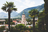 Church tower of Meran with palm trees in the foreground, E5, Alpenüberquerung, 6th stage, Vent,Niederjochbach, Similaun hut, Schnalstal, Vernagt reservoir, Meran