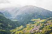 Panoramic view over a mountain village, E5, Alpenüberquerung, 4th stage, Skihütte Zams,Pitztal,Lacheralm, Wenns, Gletscherstube, Zams to  Braunschweiger Hütte, tyrol, austria, Alps