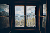 Panoramic view through Alm window, E5, Alpenüberquerung, 4th stage, Skihütte Zams,Pitztal,Lacheralm, Wenns, Gletscherstube, Zams to  Braunschweiger Hütte, tyrol, austria, Alps