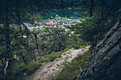 Long-distance hiking trail with a view to Landeck, E5, Alpenüberquerung, 3rd stage, Seescharte,Inntal, Memminger Hütte to  Unterloch Alm, tyrol, austria, Alps