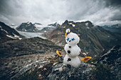 Snowman in front of mountain panorama in summer, E5, Alpenüberquerung, 4th stage, Skihütte Zams,Pitztal,Lacheralm, Wenns, Gletscherstube, Zams to  Braunschweiger Hütte, tyrol, austria, Alps