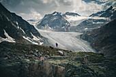 Mountaineer climbing infront the Pitztal Glacier, E5, Alpenüberquerung, 4th stage, Skihütte Zams,Pitztal,Lacheralm, Wenns, Gletscherstube, Zams to  Braunschweiger Hütte, tyrol, austria, Alps