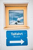 Mountain peak reflected in the window of Söldner lift house, 5th stage, Braunschweiger Hütte,Ötztal, Rettenbachferner, Tiefenbachferner, Panoramaweg to Vent, tyrol, austria, Alps