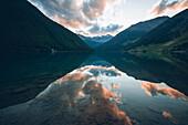 Vernagt reservoir in the sunset, E5, Alpenüberquerung, 6th stage, Vent,Niederjochbach, Similaun hut, Schnalstal, Vernagt reservoir, Meran