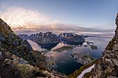 view of Reine and the Reine fjord, Lofoten Islands, Norway