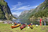 Kajaks in Nærøyfjord, a branch of Sognefjord, Gudvangen, Sogn og Fjordane, Fjord norway, Southern norway, Norway, Scandinavia, Northern Europe, Europe