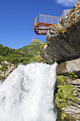 Waterfall Storfossen and viewpoint above the fjord Geirangerfjord, Geiranger, More and Romsdal, Fjord norway, Southern norway, Norway, Scandinavia, Northern Europe, Europe