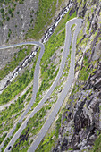 View to road Trollstigen, Geiranger-Trollstigen, Rauma, More and Romsdal, Fjord norway, Southern norway, Norway, Scandinavia, Northern Europe, Europe