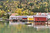 Houses in Solvorn by the fjord Lusterfjord, Sogn og Fjordane, Fjord norway, Southern norway, Norway, Scandinavia, Northern Europe, Europe