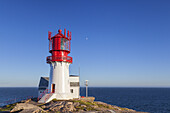 Moon above lighthouse Lindesnes fyr at the Cape Lidesnes, Skagerak, Northern Sea, Vest-Agder, Sorlandet, Southern Norway, Norway, Scandinavia, Northern Europe, Europe