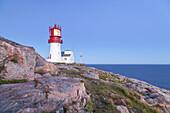 Lighthouse Lindesnes fyr at the Cape Lidesnes, Skagerak, Northern Sea, Vest-Agder, Sorlandet, Southern Norway, Norway, Scandinavia, Northern Europe, Europe