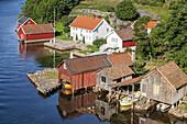 Farm by the Jasund, Lyngdal, Northern Sea, Vest-Agder, Sorlandet, Southern Norway, Norway, Scandinavia, Northern Europe, Europe